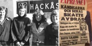 Fyra Hackåsprofiler och så den berömda löpsedeln från 1975, då Hackåsfotbollen till och med platsade i Expressen.