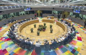 Det runda sammanträdesbordet i Bryssel. Foto: Stephanie Lecocq/Pool Photo via AP