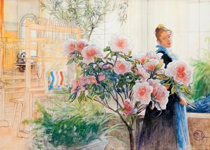 Karin Larsson porträtterad av Carl i målningen Azalea från 1906. Foto: Tord Lund