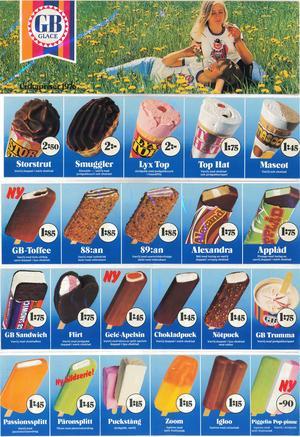 På glasslistan från 1976 var Alexsandra en glass utan pinne men 1988 var det en strut.