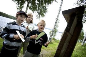 Frågor. Simon Hedenbo, Mathilda Lund och Oskar Lund gick tipspromenaden på Harnäsgården. Enkelt, tyckte de alla tre. Foto:Karin Rickardsson