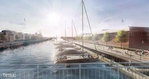 Gävle kommuns skiss för gästhamnen vid Södra Skeppsbron. En tydlig skillnad i förslagen är att Wahlströms och Hanssons fokuserar mer på naturupplevelserna med närliggande Inre fjärden, Testeboån och T-udden.
