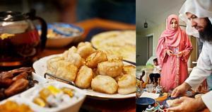 Ansam och Ahmed Alhassan förbereder högtidsmaten till Ramadan. Den äts efter att solen har gått ner.