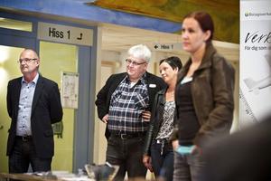 Intresserade åhörare vid inspirationsdagen. Från vänster Stefan Färlin, Närljus, Christer Andersson, Arbetsförmedlingen, och Lotta Wallström, Närljus.