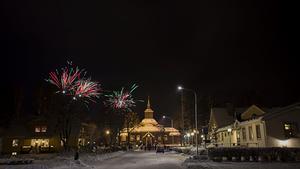 Nyårsfirande i Laxå vid Ramundeboda kyrka. Foto: Ida Eliasson