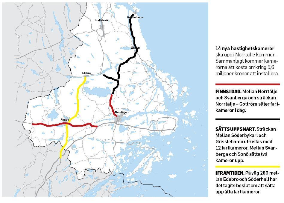 Karta 14 Nya Hastighetskameror Till Norrtalje