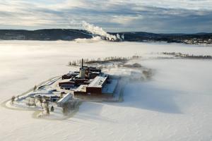 Hela halvön har Nicklas Nybergs bolag köpt. I bakgrunden syns Östrandsfabriken.