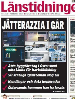 Länstidningens förstasida onsdagen 1 februari. (klicka på bilden för större format)