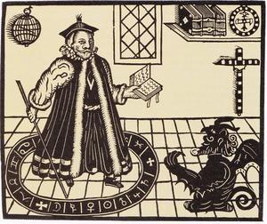 Faust var en historisk figur som levde i början av 1500-talet och historien om honom är alltså långt äldre än Goethe. Här försättsbladet till en pjäs av engelsmannen Christopher Marlowe, tryckt 1616. Den ryslige lille djävulen som kliver upp genom golvet till höger uppträder ännu inte som hos Goethe i en pudels skepnad (Aha, det var alltså pudelns kärna…)
