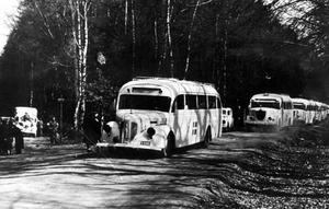 Röda korsets vita bussar har mer än något annat kommit att förknippas med Folke Bernadotte och hans insats i räddningsexpeditionen av koncentrationslägerfångar. Bussarna hjälpte folk ut från Tyskland i andra världskrigets slutskede.