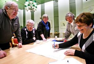 I en av grupperna jobbade Rolf Eriksson, Gunnar Rosén, Rita Sjögren, Elisabeth Breig-Åsberg och Kerstin Olsson.