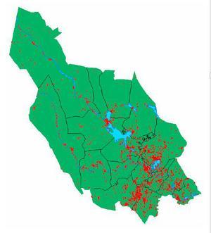 Dalarnas gruvliga historia syns på kartan där det mesta av de 3800 (röda små prickar) är rester från gamla gruvor som läcker metaller, men det finns många fler gamla miljösynder efter 1000 år av industriell verksamhet.