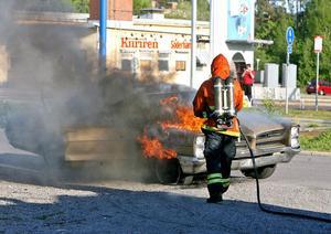 Bilbrand i Söderhamn på måndagskvällen.