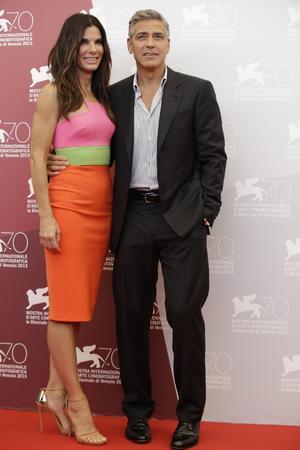 Sandra Bullock och George Clooney i Venedig på onsdagen.