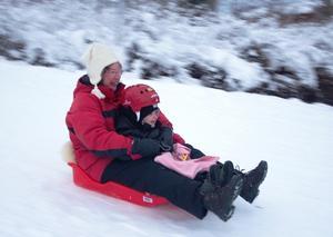 Vem har mest roligt i pulkabacken? Ella eller mormor Siv?Överexponerat 1 steg för att ge vit snö och det klena ljuset ger också en slutartid på 1/45s som ger en fartig bakgrund trots att det inte gick så fort.