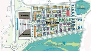 7 000 kvadratmeter handelsområde och 166 bostäder har kommunen skissat på där tidigare Coop Forum låg i Lillån.