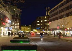 Så ser det ut i dag. Ett betydligt mörkare Västerås än  med Pedersens julpyntningsförslag.