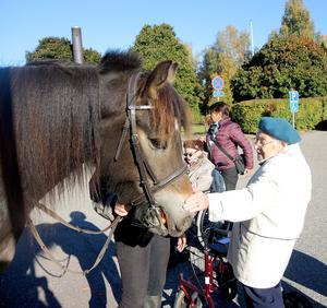 Karin Jansson, 96 år, tycker mycket om hästar.
