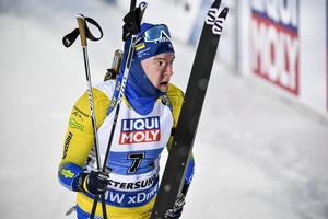 Sebastian Samuelsson höll inte med sin tränare Wolfgang Pichler angående insatsen i VM-premiären. Foto: TT