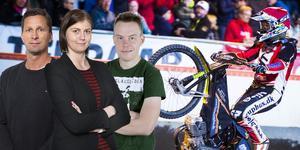 Stefan Ericson, Jessica Eriksson och Jonas Brännmyr är experterna i speedwaypanelen. Arkivfoto (bakgrundsbilden): Hanna Franzén/TT