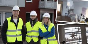 Robin Rusk, Alexander Montgomery och Malin Arnbom är glada över att snart kunna låta hyresgästerna flytta in i Timrås nya höghus.