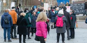 En klimatmanifestation på fredagen samlade närmare 30 personer i Södertälje.