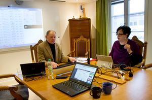 På torsdagsförmiddagen var det förhållandevis lugnt för kommunchef Bengt Friberg och kommunikationschef Annacarin Andersson i krisledningsrummet.