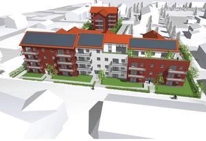 Bild från förstudie av Skoglunds / agnasARK. Slutlig utformning, materialval och färgsättning ska arbetas fram i den fortsatta processen tillsammans med kommunens stadsarkitekt.
