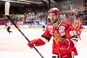 Mathias Bromé i Moratröjan under kvalet mot Mora. Bild: Daniel Eriksson/Bildbyrån