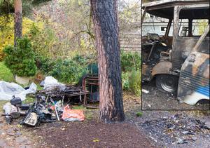 Här stod husbilen när den brann. Nu har försäkringsbolaget hämtat den. Barken på tallen som stod närmst husbilsbranden är bränd. Foto bussen: Privat.
