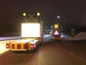 Vid 20-tiden på måndagen stängdes trafiken på Hanröleden av.