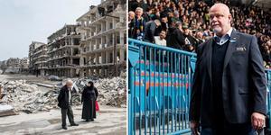Till vänster Aleppo i Syrien, en av världens mest krigsförstörda städer. Till höger Roger Melin på Hovet i torsdags. Foto: TT respektive