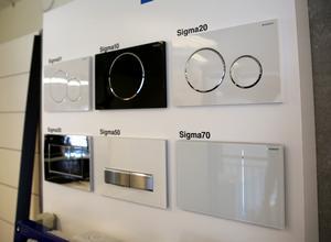 Olika versioner av spolplattor till vägghängda toaletter. Sigma 20-serien är den de flesta väljer.