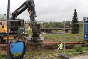 Gräv- och markarbetena i Vasaparken är ett relativt stort jobb som inte blir klart redan i år, uppger en grävarbetare.