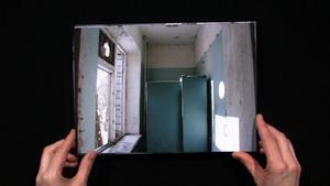 "Gävles eget minnesmärke.   Videoverket ""Anteroom of the real""."