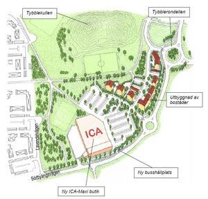 Så här är det tänkt att området vid Tybblerondellen ska utformas.
