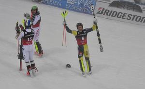 André Myhrer, längst till höger, imponerade i Holmenkollen under måndagen.