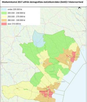 Så här skiljer det sig åt i medianinkomst mellan olika områden i Västernorrland. Källa: SCB