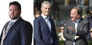 Partikamraterna Jonas Gahr Støre och Stefan Löfven under det svenska valet 2018.