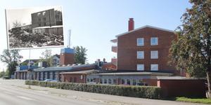 Brandstationen sett från Väsbygatan, nu och då.