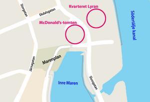 Skribenten vill rädda Marens vattenspegel genom att byggprojekten på McDonald's-tomten och i kvarteret Lyran samordnas. Karta: Tomas Karlsson