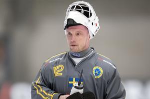 Anders Svensson vaktade målet i Sveriges förlustmatch mot Ryssland i VM-finalen i januari tidigare i år. Foto Thomas Johansson / TT