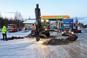 I slutet av 2016 rev Preem den dåvarande automatstationen i Kårböle. Fotograf: Caj Källmalm