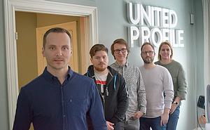 På ett år har företaget gått från fem till åtta anställda. Här ses från vänster Alexander Giers, Emil Malm, Jesper Löfgren, Stefan Sundell och Patricia Molenkamp.