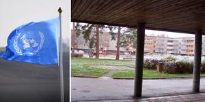 FN varnar för Hembla. Två av bostadsbolagets fastigheter på Tunadalsgatan i Köping.  Hembla hette tidigare D. Carnegie.