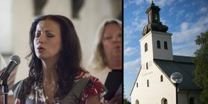 Sonja Aldén sjöng under torsdagskvällen i Söderbärkekyrkan.