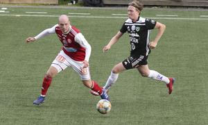 Slava Koidan i aktion under träningsmatchen mot Valbo FF.