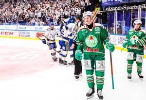 Rögles Anton Bengtsson deppar efter 3-2 av Leksands Jonas Ahnelöv. Foto: Daniel Eriksson/Bildbyrån