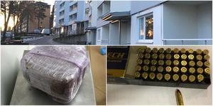 Utanför hyreshusen i Ronna pågick öppen cannabisförsäljning. Nedanför syns en del av beslaget – en 285 gram stor cannabisbit som hittades i väskan samt patroner. Foto ovan: Torbjörn Granström. Under:  Polisen