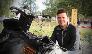 Joakim Kvikkström var en av de kvicka förarna som tävlade i watercross på Sandslån under första dagen av motorveckan.